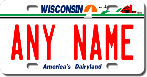 Personalized Wisconsin License Plate for Bicycles, Kid's Bikes, Carts, Cars or Trucks