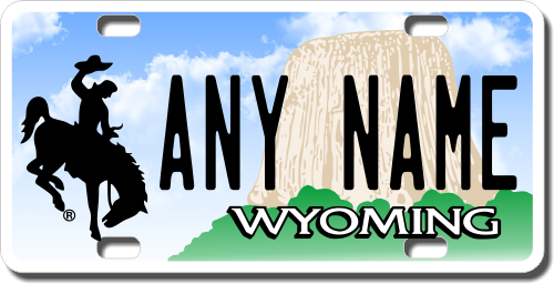 Personalized Wyoming License Plate for Bicycles, Kid's Bikes, Carts, Cars or Trucks