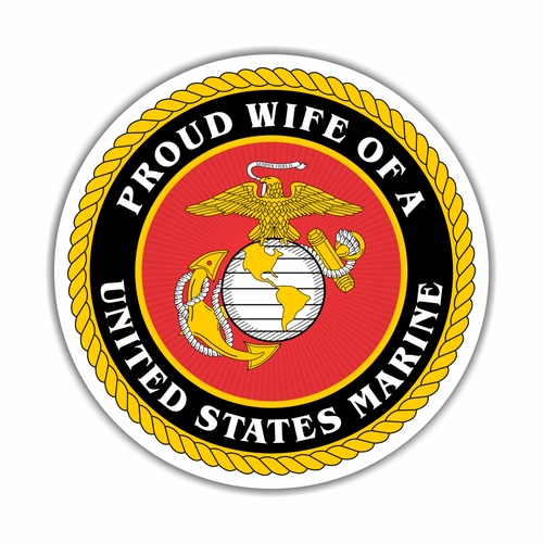 Proud Wife of a U.S Marine Circle Magnet