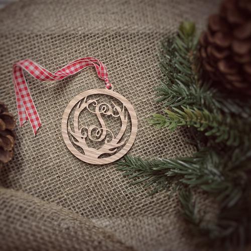 Deer Antler Monogram Christmas Ornament