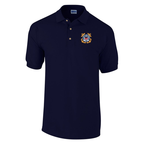 b2253470f US Coast Guard Embroidered Pique Knit Golf Shirt - Teamlogo.com | Custom  Imprint and Embroidery