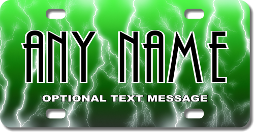 Personalized Green Electricity License Plate for Bicycles, Kid's Bikes, Carts, Cars or Trucks