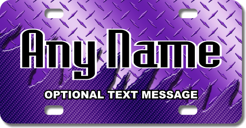 Personalized Purple Metal License Plate for Bicycles, Kid's Bikes, Carts, Cars or Trucks