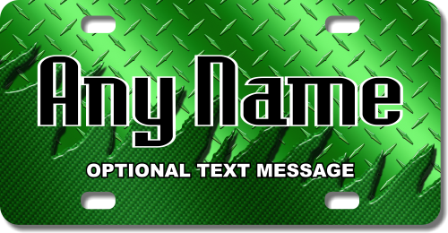 Personalized Green Metal License Plate for Bicycles, Kid's Bikes, Carts, Cars or Trucks