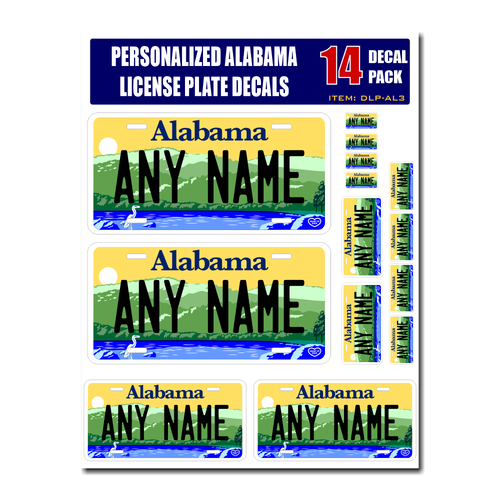 Personalized Alabama License Plate Decals - Stickers Version 3