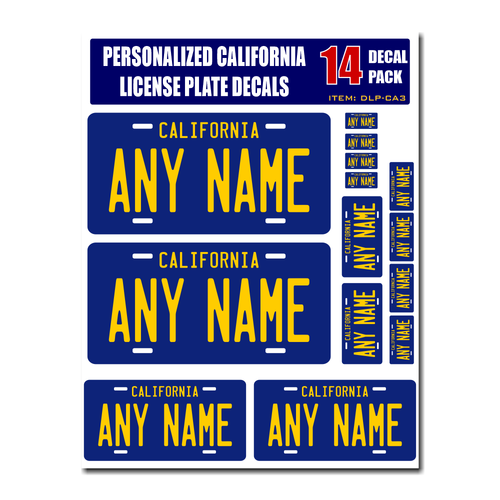 Personalized California License Plate Decals - Stickers Version 3