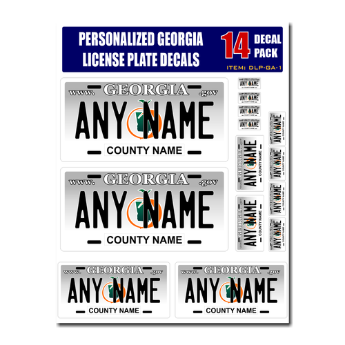 Personalized Georgia License Plate Decals - Stickers Version 1