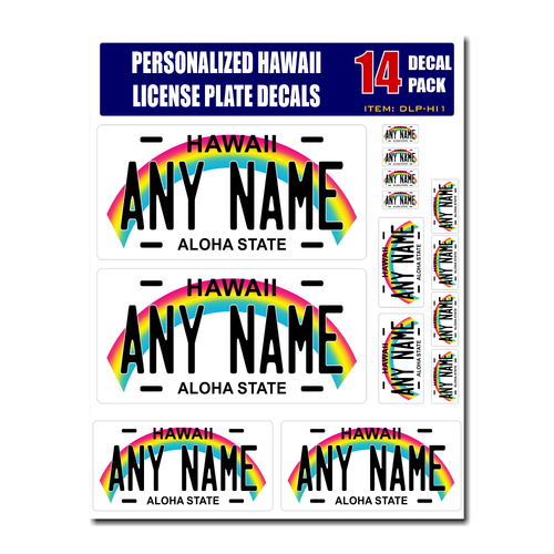 Personalized Hawaii License Plate Decals - Stickers Version 1