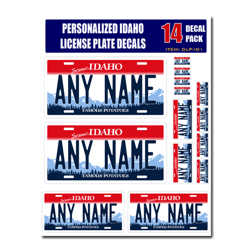 Personalized Idaho License Plate Decals - Stickers Version 1