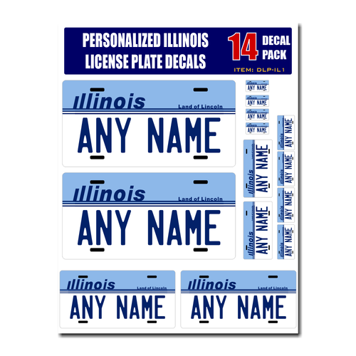 Personalized Illinois License Plate Decals - Stickers Version 1