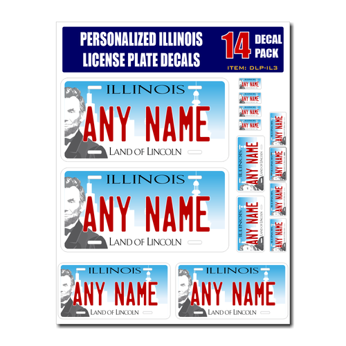 Personalized Illinois License Plate Decals - Stickers Version 3