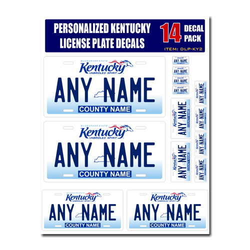 Personalized Kentucky License Plate Decals - Stickers Version 2
