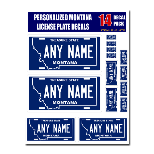 Personalized Montana License Plate Decals - Stickers Version 2