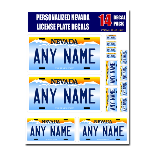 Personalized Nevada License Plate Decals - Stickers Version 1