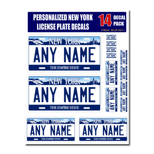 Personalized New York License Plate Decals - Stickers Version 1
