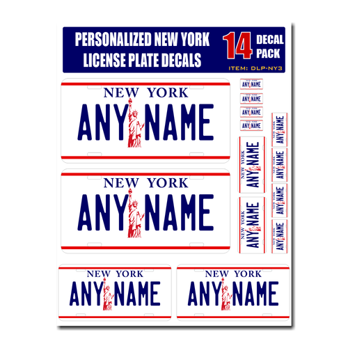 Personalized New York License Plate Decals - Stickers Version 3