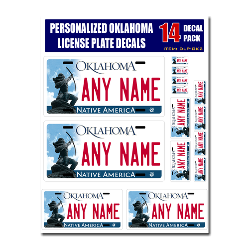 Personalized Oklahoma License Plate Decals - Stickers Version 2