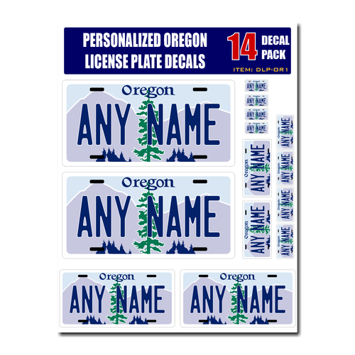 Personalized Oregon License Plate Decals - Stickers Version 1