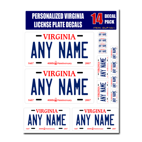 Personalized Virginia License Plate Decals - Stickers Version 1
