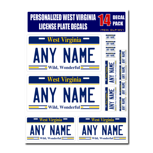 Personalized West Virginia License Plate Decals - Stickers Version 1
