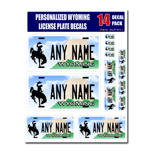 Personalized Wyoming License Plate Decals - Stickers Version 1