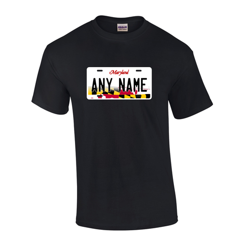 Personalized Maryland License Plate T-shirt Adult and Youth Sizes Version 3