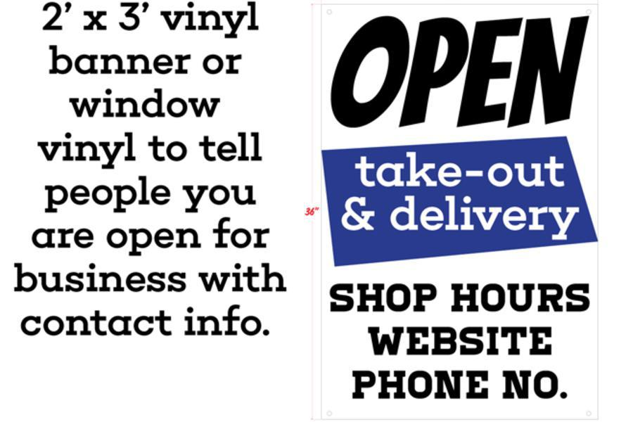 Open for business banner or window vinyl near syracuse ny