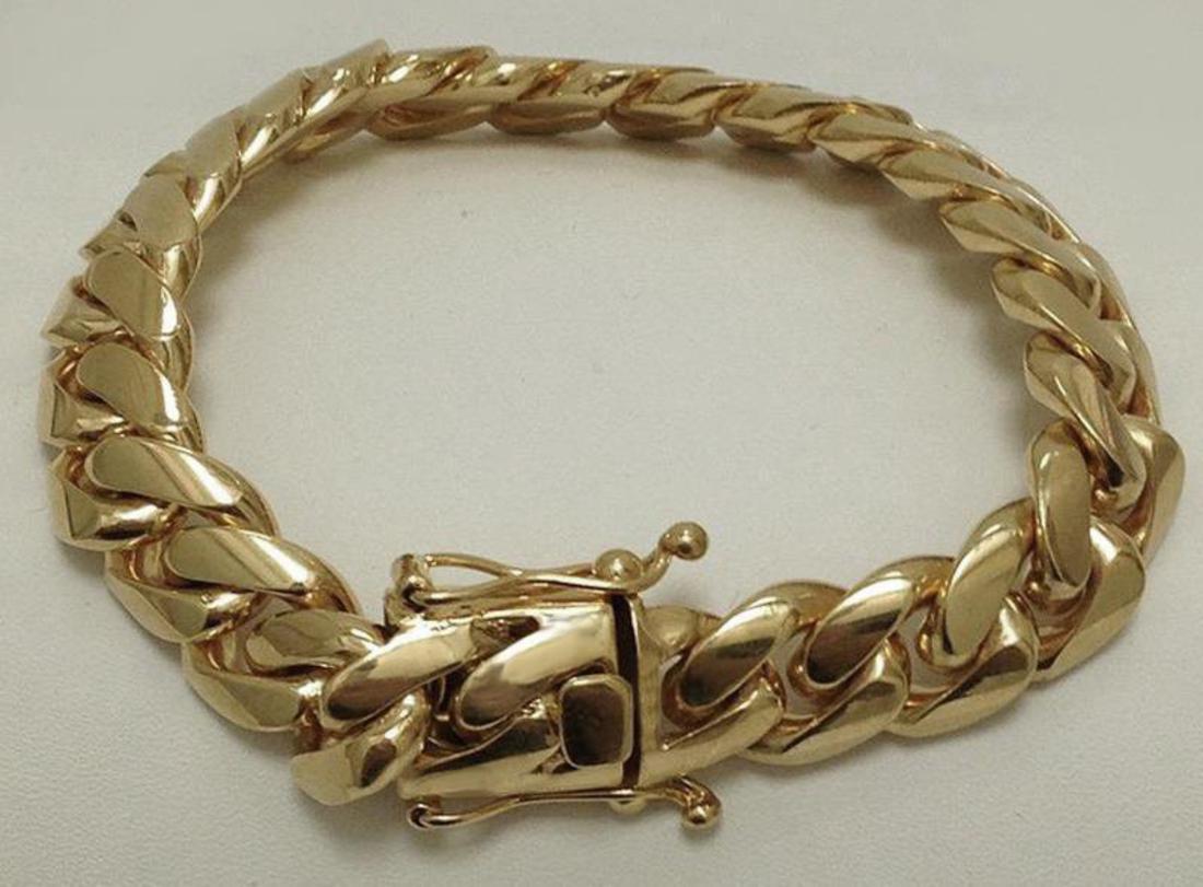 e633e0d5240d4 Solid 14K Gold Miami Men's Cuban Curb Link Bracelet Heavy 8