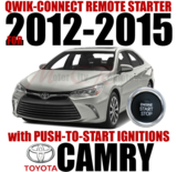 2012 through 2015 Toyota Camry Plug Play Remote Starter Alarm