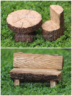 Miniature Faux Timber Bench Fairy Garden