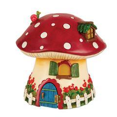 Miniature Merriment Red Mushroom Solar Fairy Cottage