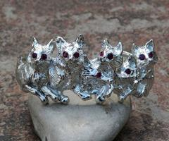 Sterling Silver Hand Made Foxes Bracelet