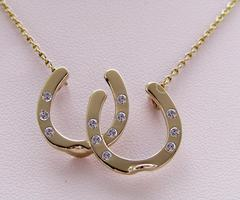 14k gold diamonds double horseshoe necklace