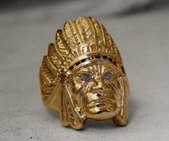 14K gold indian chief ring