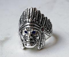 sterling silver indian chief ring