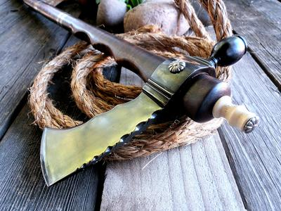 Custom handmade knives, tomahawks, edged weapons, war clubs