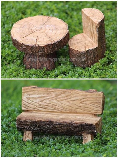Miniature Faux Timber Bench Fairy Garden