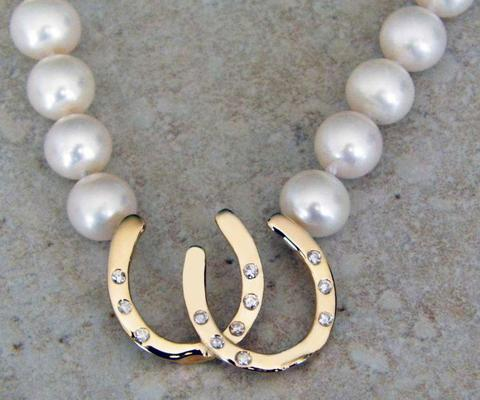 14K diamonds pearls double horseshoe necklace