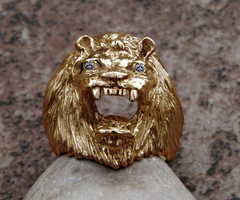 large 14K gold lion king ring with diamonds