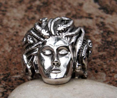 Sterling silver medusa ring