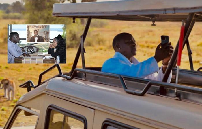 Inset is Akon and wife before the game drive