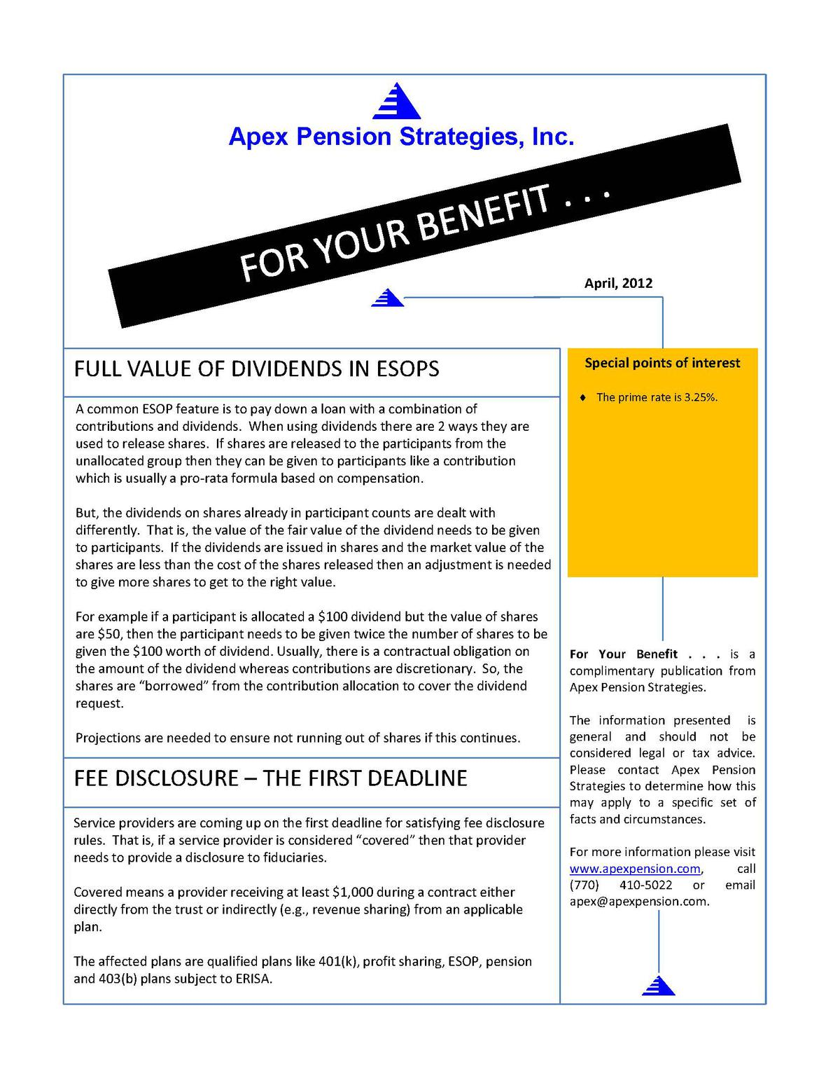 Fee Disclosure - The First Deadline