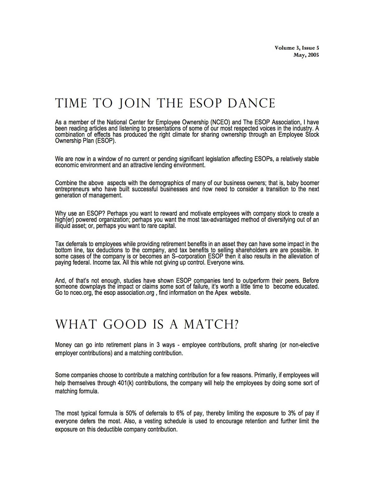 Time To Join The ESOP Dance