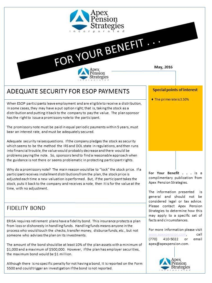 Adequate Security for ESOP Payments