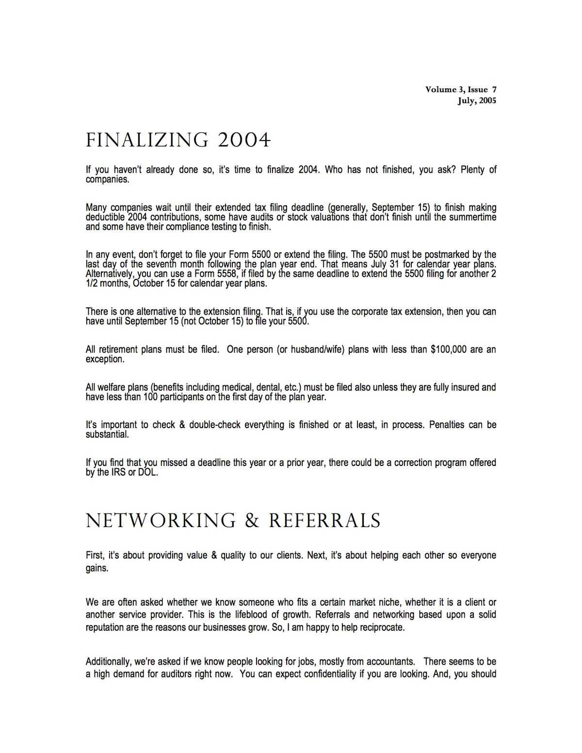 Your Retirement Specialist - Finalizing 2004