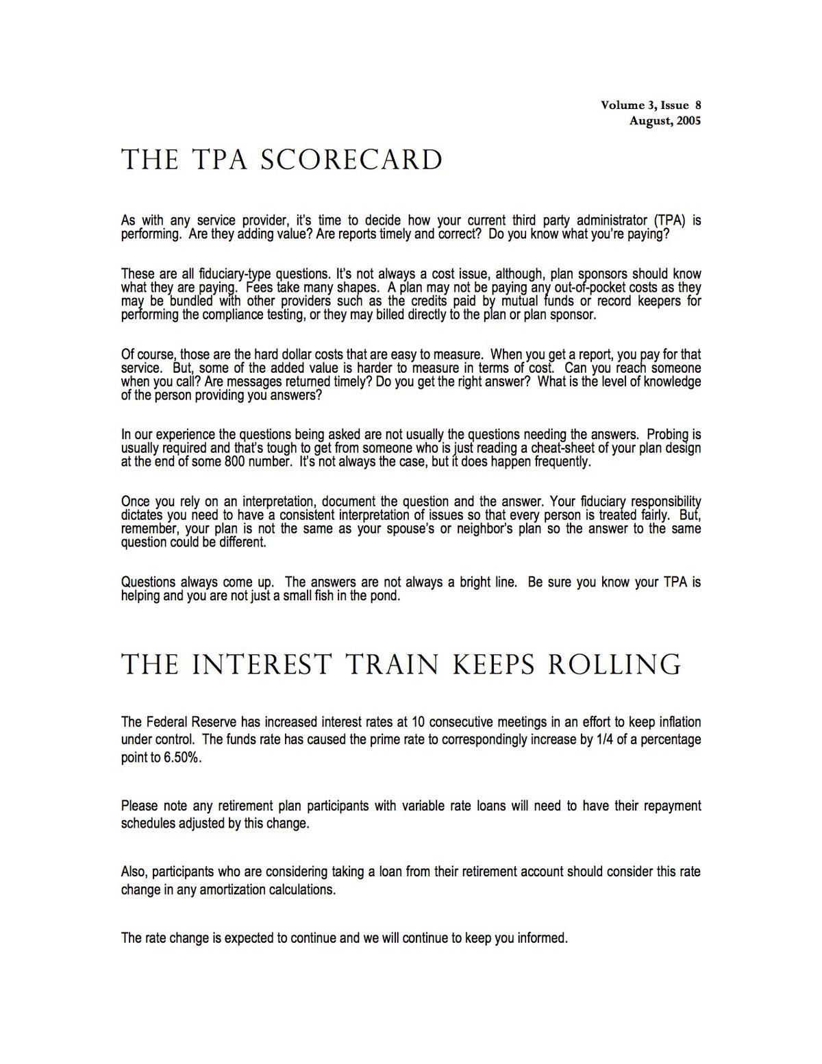 Interest Train Keeps Rolling