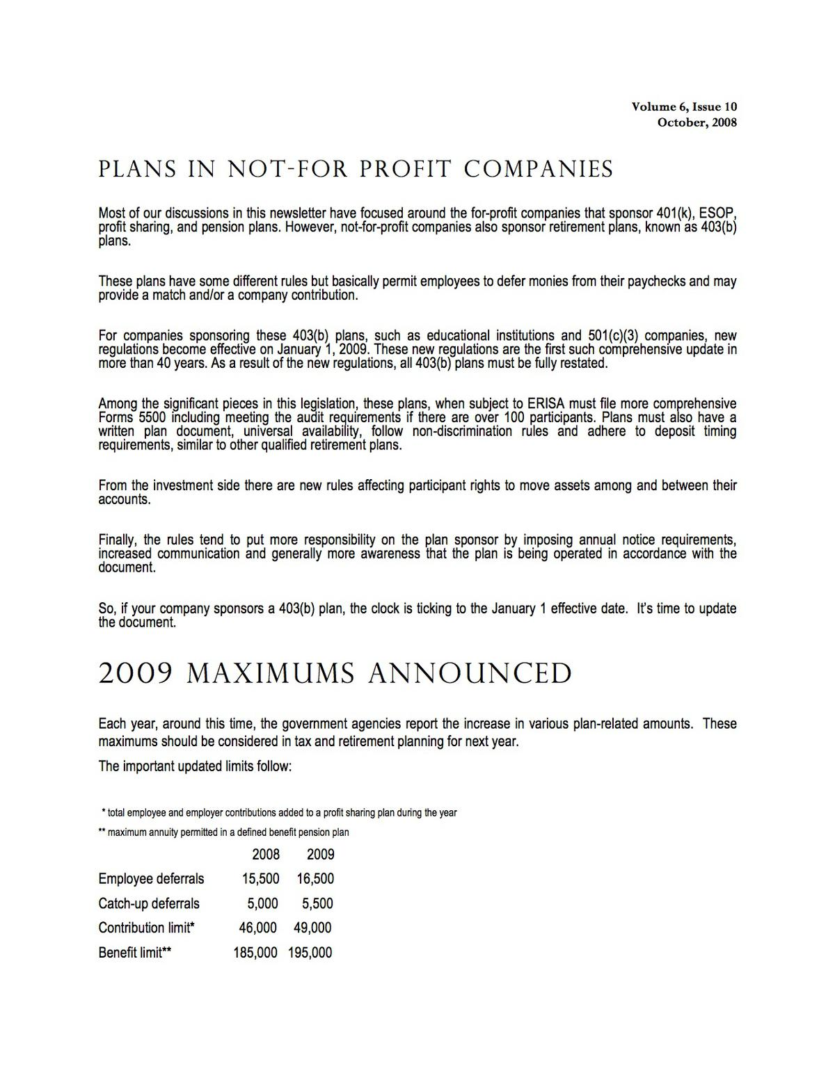 Plans In Not-For-Profit Companies