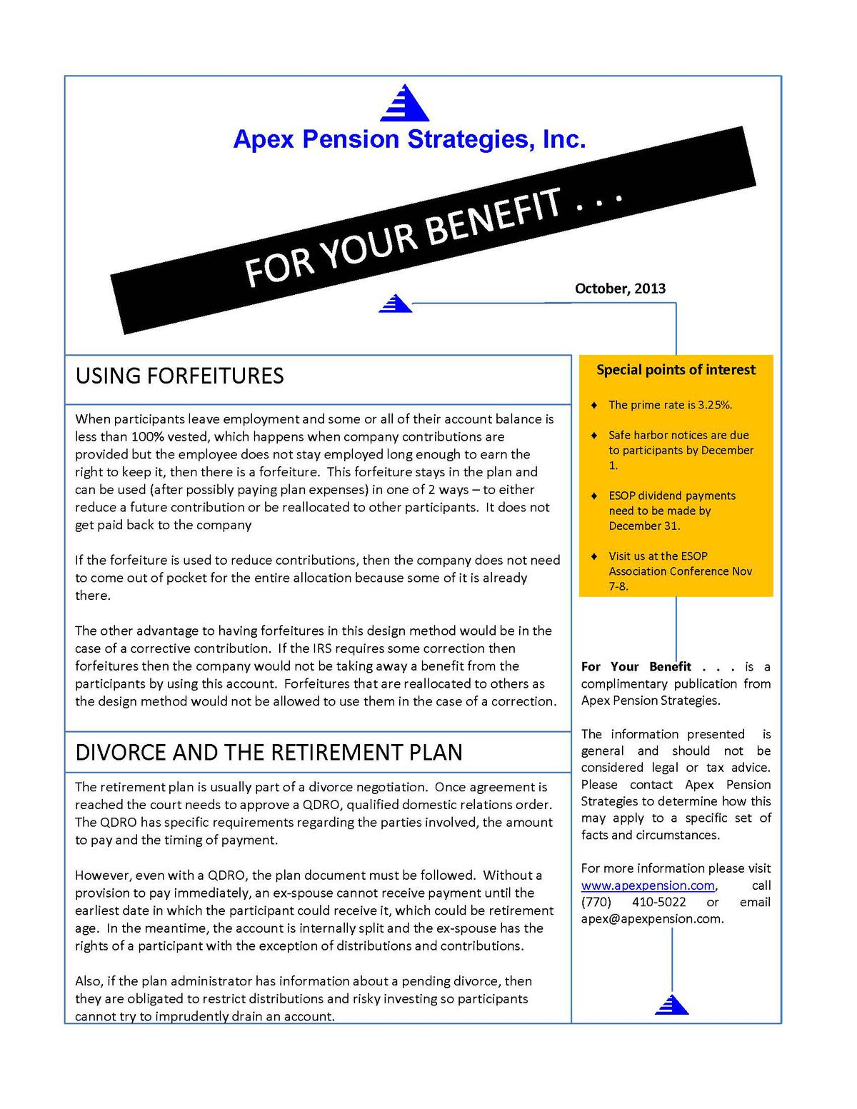 Your Retirement Specialist - Newsletter