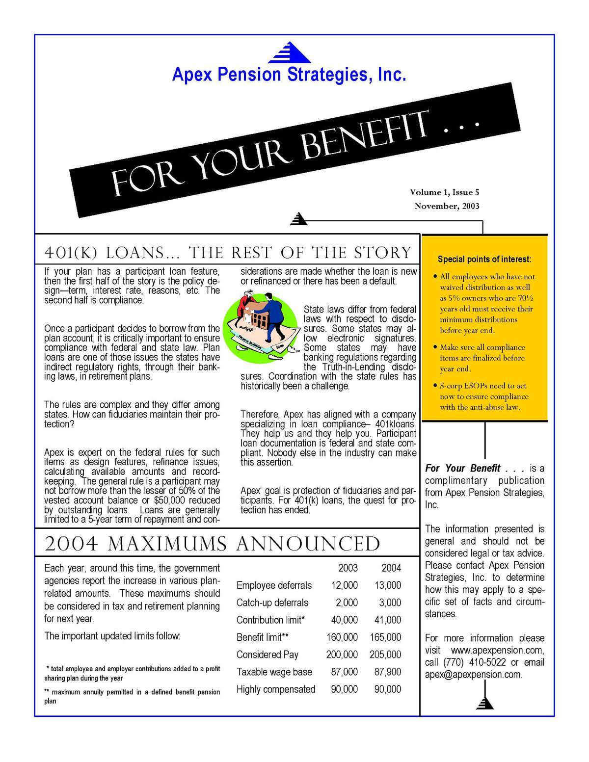 2004 Maxiumums Announced