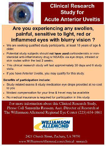 NOW OFFERING A CLINICAL TRIAL FOR UVEITIS!